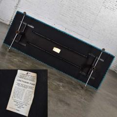 Madison Furniture MCM vinyl faux leather turquoise chrome bench daybed style of arthur umanofF - 1938851