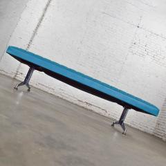 Madison Furniture MCM vinyl faux leather turquoise chrome bench daybed style of arthur umanofF - 1938867