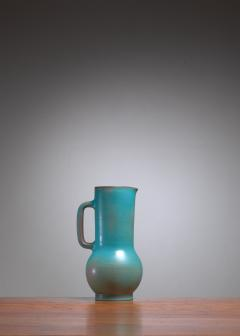 Madoura Suzanne Ramie Greenish Blue Madoura Ceramic Pitcher Vallauris France 1950s - 1086602