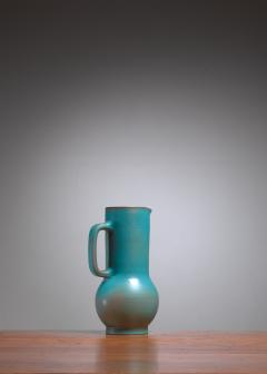 Madoura Suzanne Ramie Greenish Blue Madoura Ceramic Pitcher Vallauris France 1950s - 1086603
