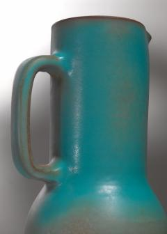 Madoura Suzanne Ramie Greenish Blue Madoura Ceramic Pitcher Vallauris France 1950s - 1086604
