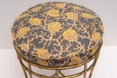 Maison Bagu s Brass Faux Bamboo Vanity Stool - 976046