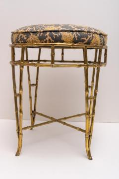 Maison Bagu s Brass Faux Bamboo Vanity Stool - 976048