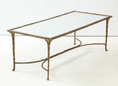 Maison Bagu s Bronze Bagu s Style Cocktail Table with a Mirrored Top - 1842667