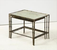 Maison Bagu s Faux bamboo patinated bronze nesting tables by Maison Bagu s France 1960s - 1796590