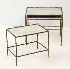 Maison Bagu s Faux bamboo patinated bronze nesting tables by Maison Bagu s France 1960s - 1796591