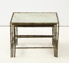 Maison Bagu s Faux bamboo patinated bronze nesting tables by Maison Bagu s France 1960s - 1796593