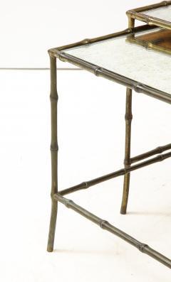 Maison Bagu s Faux bamboo patinated bronze nesting tables by Maison Bagu s France 1960s - 1796594