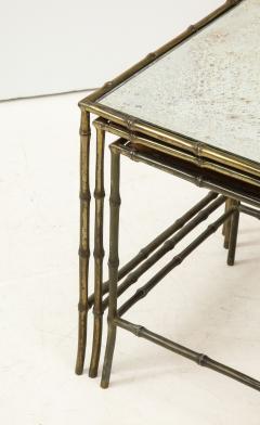 Maison Bagu s Faux bamboo patinated bronze nesting tables by Maison Bagu s France 1960s - 1796595