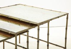 Maison Bagu s Faux bamboo patinated bronze nesting tables by Maison Bagu s France 1960s - 1796597
