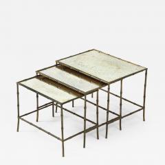 Maison Bagu s Faux bamboo patinated bronze nesting tables by Maison Bagu s France 1960s - 1797703
