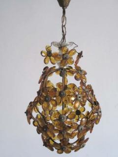 Maison Bagu s French Mid Century Cut Amber Crystal Floral Pendant Chandelier Maison Bague s - 1799964