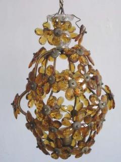 Maison Bagu s French Mid Century Cut Amber Crystal Floral Pendant Chandelier Maison Bague s - 1799965