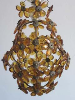 Maison Bagu s French Mid Century Cut Amber Crystal Floral Pendant Chandelier Maison Bague s - 1799966