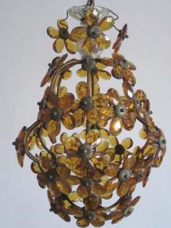 Maison Bagu s French Mid Century Cut Amber Crystal Floral Pendant Chandelier Maison Bague s - 1799967