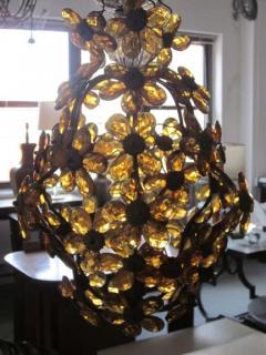 Maison Bagu s French Mid Century Cut Amber Crystal Floral Pendant Chandelier Maison Bague s - 1799968
