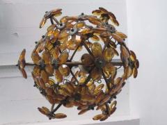 Maison Bagu s French Mid Century Cut Amber Crystal Floral Pendant Chandelier Maison Bague s - 1799972
