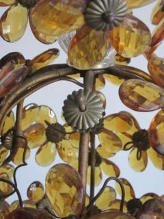 Maison Bagu s French Mid Century Cut Amber Crystal Floral Pendant Chandelier Maison Bague s - 1799973
