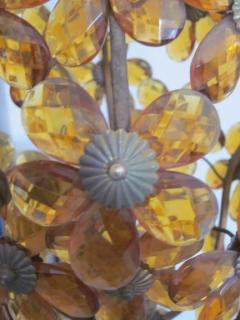 Maison Bagu s French Mid Century Cut Amber Crystal Floral Pendant Chandelier Maison Bague s - 1799974