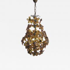 Maison Bagu s French Mid Century Cut Amber Crystal Floral Pendant Chandelier Maison Bague s - 1803026