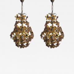 Maison Bagu s French Mid Century Cut Amber Crystal Floral Pendant Chandelier Maison Bague s - 1803027