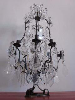 Maison Bagu s French Mid Century Modern Crystal Table Chandelier Girandole by Maison Bagu s - 1876857