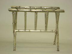Maison Bagu s French Mid Century Modern Nickeled Brass Faux Bamboo Magazine Stand by Bagues - 1787670