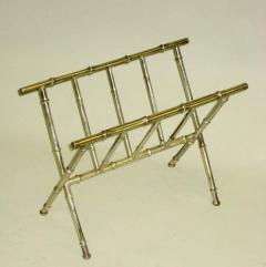 Maison Bagu s French Mid Century Modern Nickeled Brass Faux Bamboo Magazine Stand by Bagues - 1787671