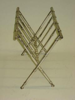 Maison Bagu s French Mid Century Modern Nickeled Brass Faux Bamboo Magazine Stand by Bagues - 1787672
