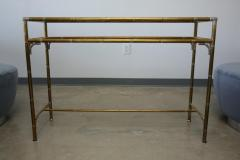 Maison Bagu s Hollywood Regency Style Faux Bamboo Brass Chrome Smoked Glass Console Table - 961931