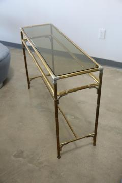 Maison Bagu s Hollywood Regency Style Faux Bamboo Brass Chrome Smoked Glass Console Table - 961933