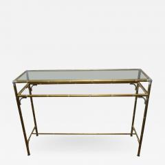 Maison Bagu s Hollywood Regency Style Faux Bamboo Brass Chrome Smoked Glass Console Table - 962398
