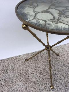 Maison Bagu s Maison Bagu s Bronze Smoked Grey Gilt Vien Mirror Top Table Hollywood Regency - 1781523