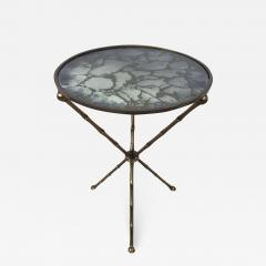 Maison Bagu s Maison Bagu s Bronze Smoked Grey Gilt Vien Mirror Top Table Hollywood Regency - 1785184