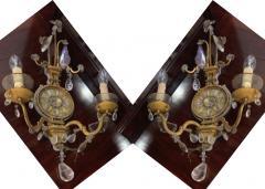 Maison Bagu s Maison Bagues early rarest pair of gold leaf wrought iron sconces - 1816677