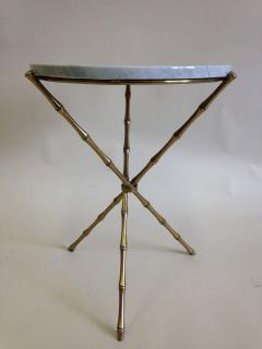 Maison Bagu s Pair French Mid Century Brass Faux Bamboo Marble Side Tables by Maison Bagu s - 1811592
