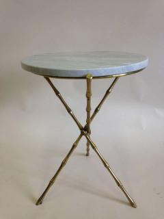 Maison Bagu s Pair French Mid Century Brass Faux Bamboo Marble Side Tables by Maison Bagu s - 1811593