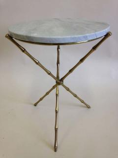 Maison Bagu s Pair French Mid Century Brass Faux Bamboo Marble Side Tables by Maison Bagu s - 1811598