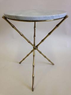 Maison Bagu s Pair French Mid Century Brass Faux Bamboo Marble Side Tables by Maison Bagu s - 1811599