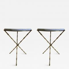 Maison Bagu s Pair French Mid Century Brass Faux Bamboo Marble Side Tables by Maison Bagu s - 1813790