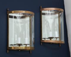 Maison Bagu s Pair of Brass Mirror and Glass Neoclassical Sconces France 1960s - 764962