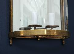 Maison Bagu s Pair of Brass Mirror and Glass Neoclassical Sconces France 1960s - 764964