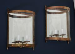 Maison Bagu s Pair of Brass Mirror and Glass Neoclassical Sconces France 1960s - 764965