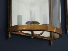 Maison Bagu s Pair of Brass Mirror and Glass Neoclassical Sconces France 1960s - 764971