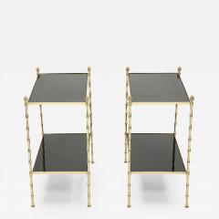 Maison Bagu s Pair of French Maison Bagu s bamboo brass black top two tier end tables 1960s - 1839456