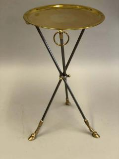 Maison Bagu s Pair of French Mid Century Modern Steel and Brass Side Tables by Maison Bagu s - 1787320