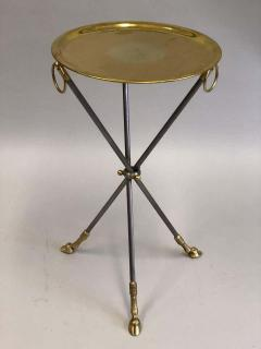 Maison Bagu s Pair of French Mid Century Modern Steel and Brass Side Tables by Maison Bagu s - 1787322