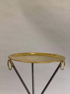 Maison Bagu s Pair of French Mid Century Modern Steel and Brass Side Tables by Maison Bagu s - 1787324