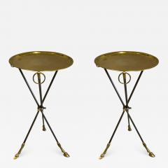 Maison Bagu s Pair of French Mid Century Modern Steel and Brass Side Tables by Maison Bagu s - 1791338