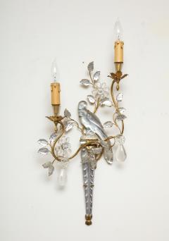 Maison Bagu s Pair of Large Vintage Maison Bagu s Rock Crystal Bird Form Sconces - 1779412